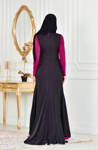 Robe de Soirée Détail Pélerine 1613954-01 Plum Noir 1613954-01