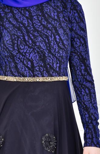 Robe de Soirée a Paillette 1713213-01 Bleu Roi Noir 1713213-01