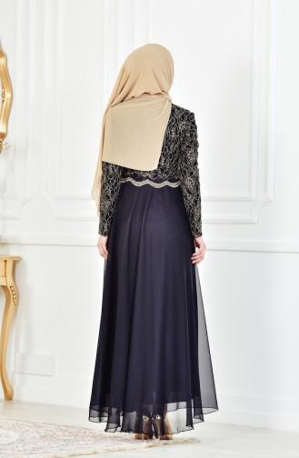 Robe de Soirée a Dentelle 7960-02 Noir 7960-02