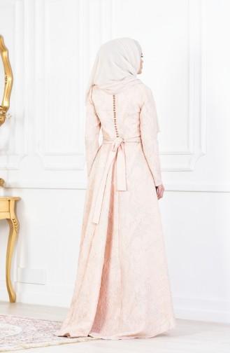 Robe de Soirée a Ceinture et Paillette 1613970-01 Saumon 1613970-01