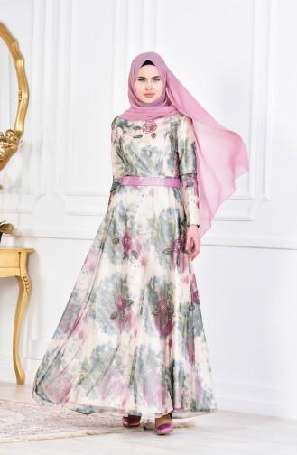 فستان بتصميم مطبع مع تفاصيل من الخرز  1613066-01