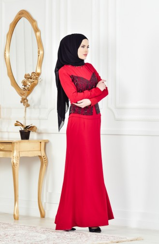 Red İslamitische Avondjurk 1713207-01