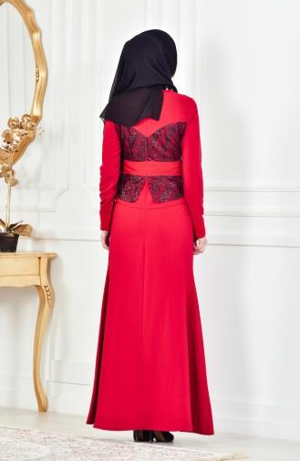 Kolyeli Abiye Elbise 1713207-01 Kırmızı
