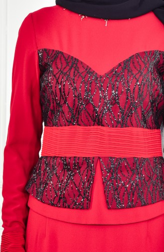 Robe de Soirée avec Collier 1713207-01 Rouge 1713207-01