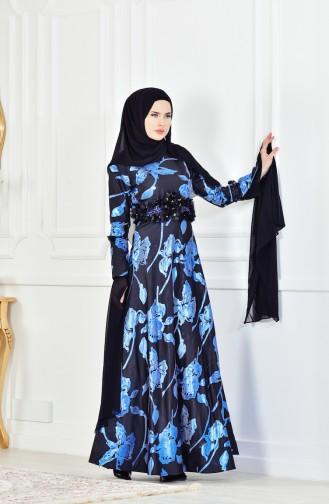 Çiçek Detaylı Abiye Elbise 1713214-03 Mavi