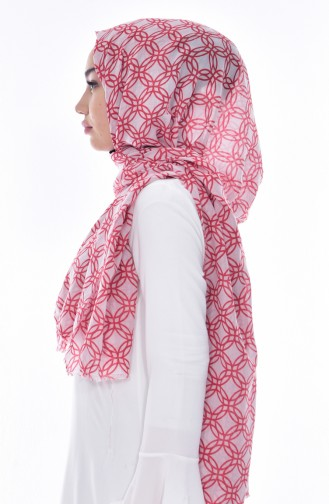 Armine Printed Cotton Shawl 077-023-03 Light Beige Coral 077-023-03