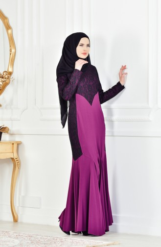 Purple Islamic Clothing Evening Dress 1713176-01