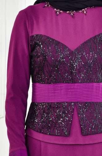 Purple Islamic Clothing Evening Dress 1713207-04