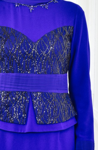 Saxon blue Islamic Clothing Evening Dress 1713207-03