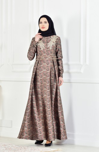 Claret red Islamic Clothing Evening Dress 8085-01