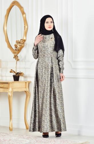 Güpürlü Simli Abiye Elbise 8085-02 Siyah Gri