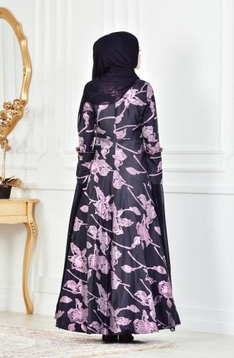Abendkleid mit Blumen Detail 1713214-01 Lila Schwarz 1713214-01
