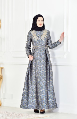 Black Islamic Clothing Evening Dress 8085-04