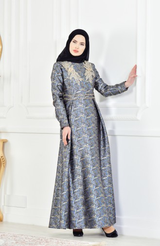 Güpürlü Simli Abiye Elbise 8085-04 Siyah Parlament