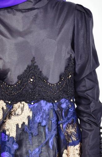 Güpürlü Abiye Elbise 1713255-02 Siyah Saks