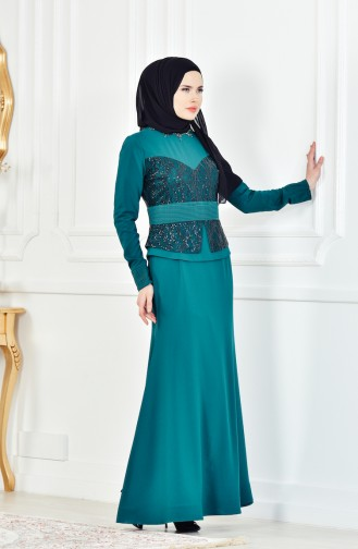 Abendkleid mit Halskette 1713207-02 Smaragdgrün 1713207-02