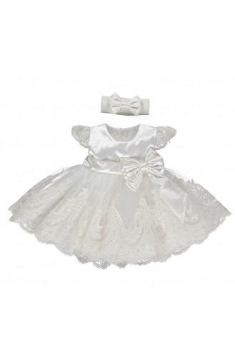 Bebetto Baby Satin Rüschenkleid K1902-EKR Ekru 1902-EKR