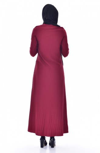 Gefaltetes Kleid mit Spitzen 4818-03 Weinrot 4818-03