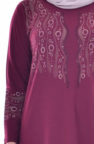 Robe İmprimée a Motifs Grande Taille 4824-04 Bordeaux 4824-04