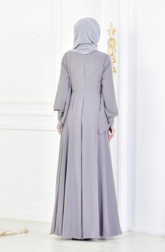 Strassstein Bedrucktes Abendkleid 8088-05 Grau 8088-05