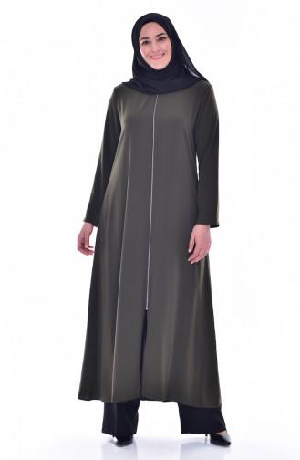 Large size Judge Collar Zippered Abaya 12054-02 Khaki 12054-02