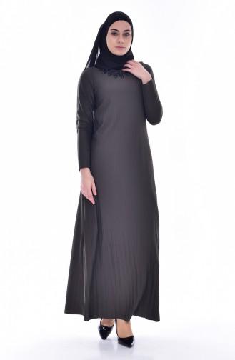 فستان بتصميم طيات مُزين بالدانتيل 4818-02 لون أخضر كاكي 4818-02