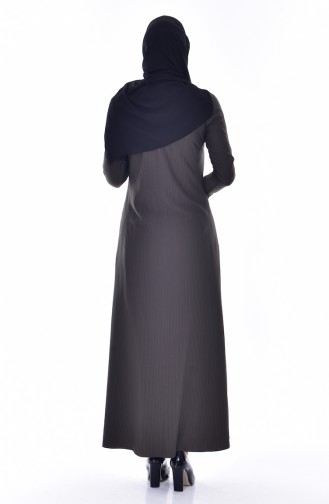 Dantelli Piliseli Elbise 4818-02 Haki 4818-02
