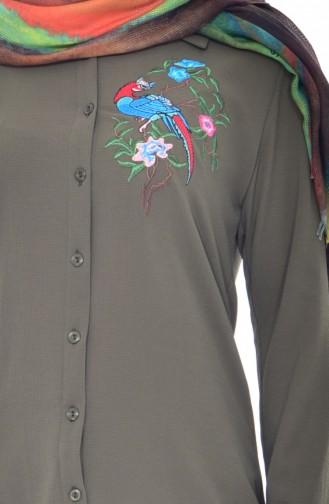 Embroidered Asymmetric Tunic 0763-06 Khaki 0763-06