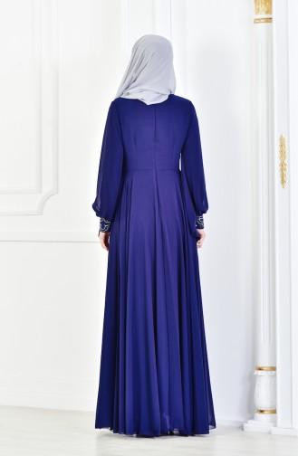 Robe de Soirée İmprimée de Pierre 8088-07 Bleu Marine 8088-07