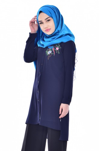 Embroidered Asymmetric Tunic 0763-07 Navy 0763-07