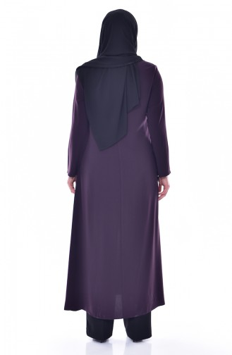 Large size Judge Collar Zippered Abaya 12054-01 Purple 12054-01