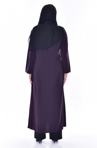 Abaya Col Officier Grande Taille 12055-02 Pourpre 12055-02