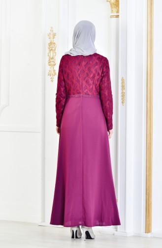 Strassstein Bedrucktes Abendkleid 1713179-01 Lila 1713179-01