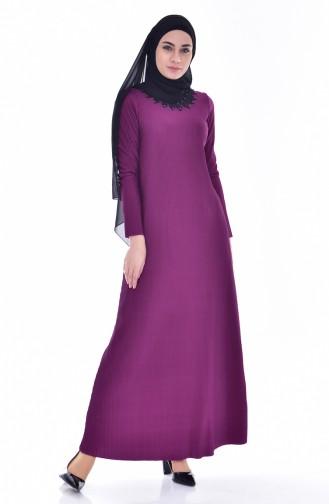 Dantelli Piliseli Elbise 4818-05 Mor 4818-05