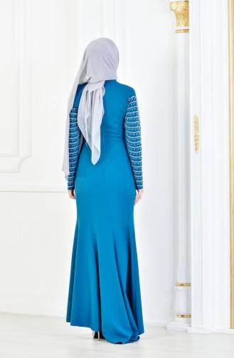 Petroleum Hijab-Abendkleider 6047-04