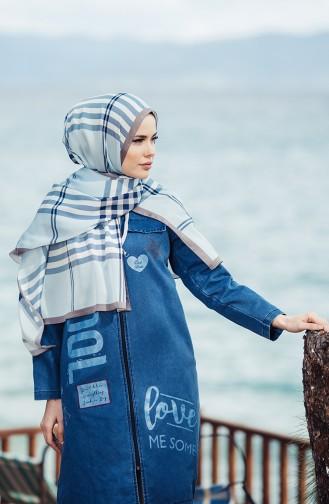 Karaca Plaid Patterned Shawl 90456-02 Mint Blue 90456-02