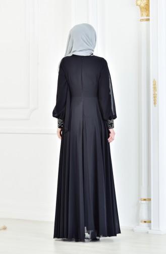 Taş Baskılı Abiye Elbise 8088-02 Siyah
