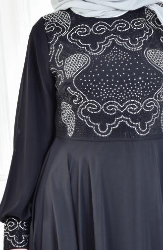 Strassstein Bedrucktes Abendkleid 8088-02 Schwarz 8088-02