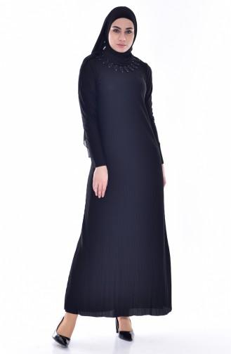 Gefaltetes Kleid mit Spitzen 4818-04 Schwarz 4818-04