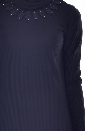Robe Plissée a Dentelle 4818-04 Noir 4818-04