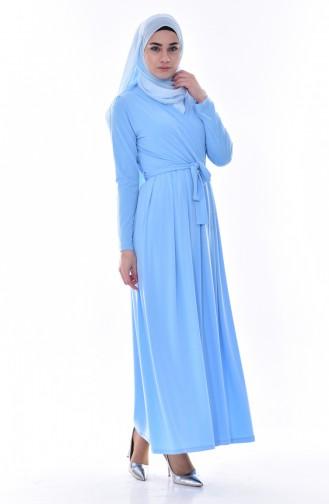 Pileli Kuşaklı Elbise 60678-05 Bebe Mavisi