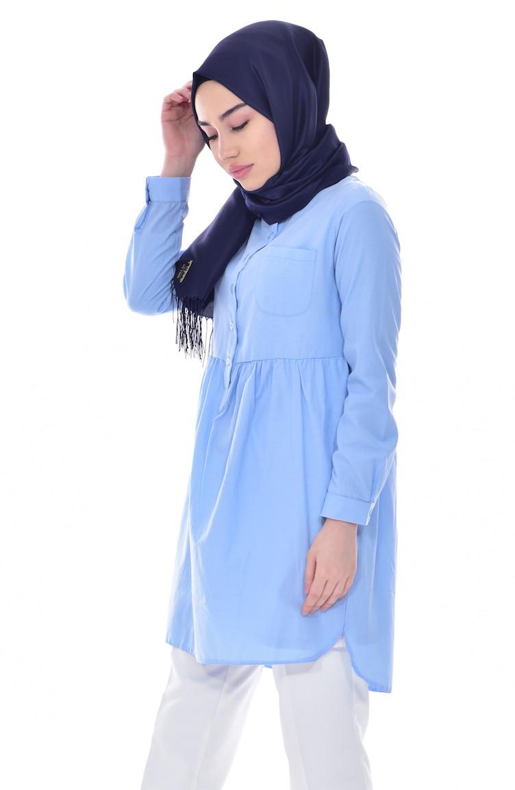 23e196ee7944f Büzgülü Cepli Gömlek Tunik 0708-05 Bebe Mavisi