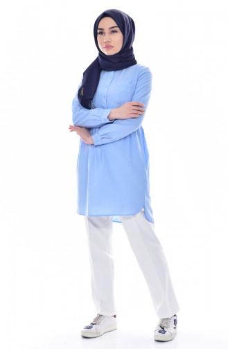 Tunique Chemise Plissée avec Poches 0708-05 Bleu Bébé 0708-05