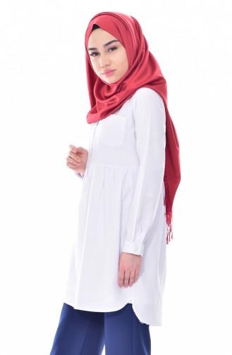 Tunique Chemise Plissée avec Poches 0708-02 Blanc 0708-02