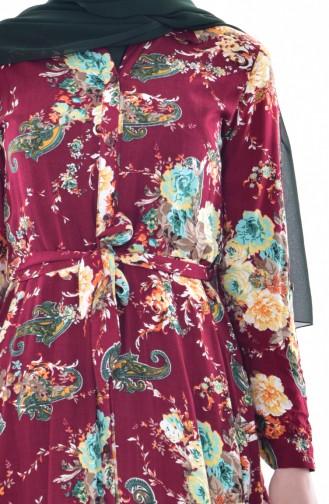 Gemustertes Kleid mit Gürtel 3068-01 Weinrot 3068-01