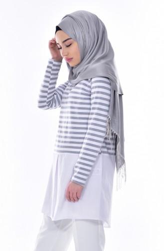 Striped Tunic 0716-02 Gray 0716-02
