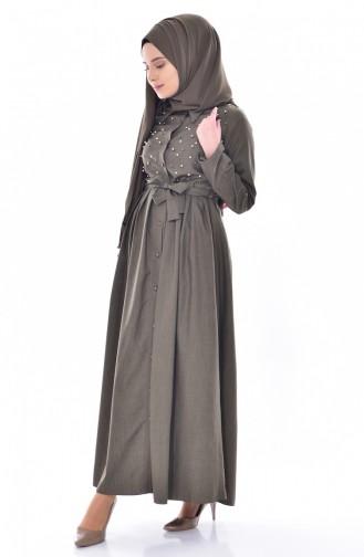 İncili Kuşaklı Elbise 60567-02 Haki 60567-02