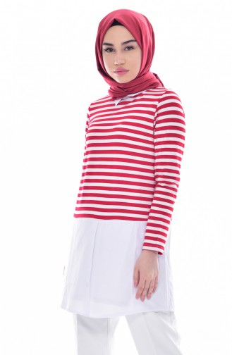 Striped Tunic 0716-04 Red 0716-04