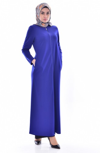 Abaya a Fermeture 0156-06 Bleu Roi 0156-06