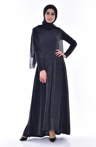 Pileli Elbise 1952-01 Siyah 1952-01
